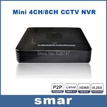 Onvif Mini HD CCTV NVR 8CH Video Recorder 8 Channel H.264 Network DVR For 720P 1080P IP Camera System P2P Cloud  EU Plug HotSale