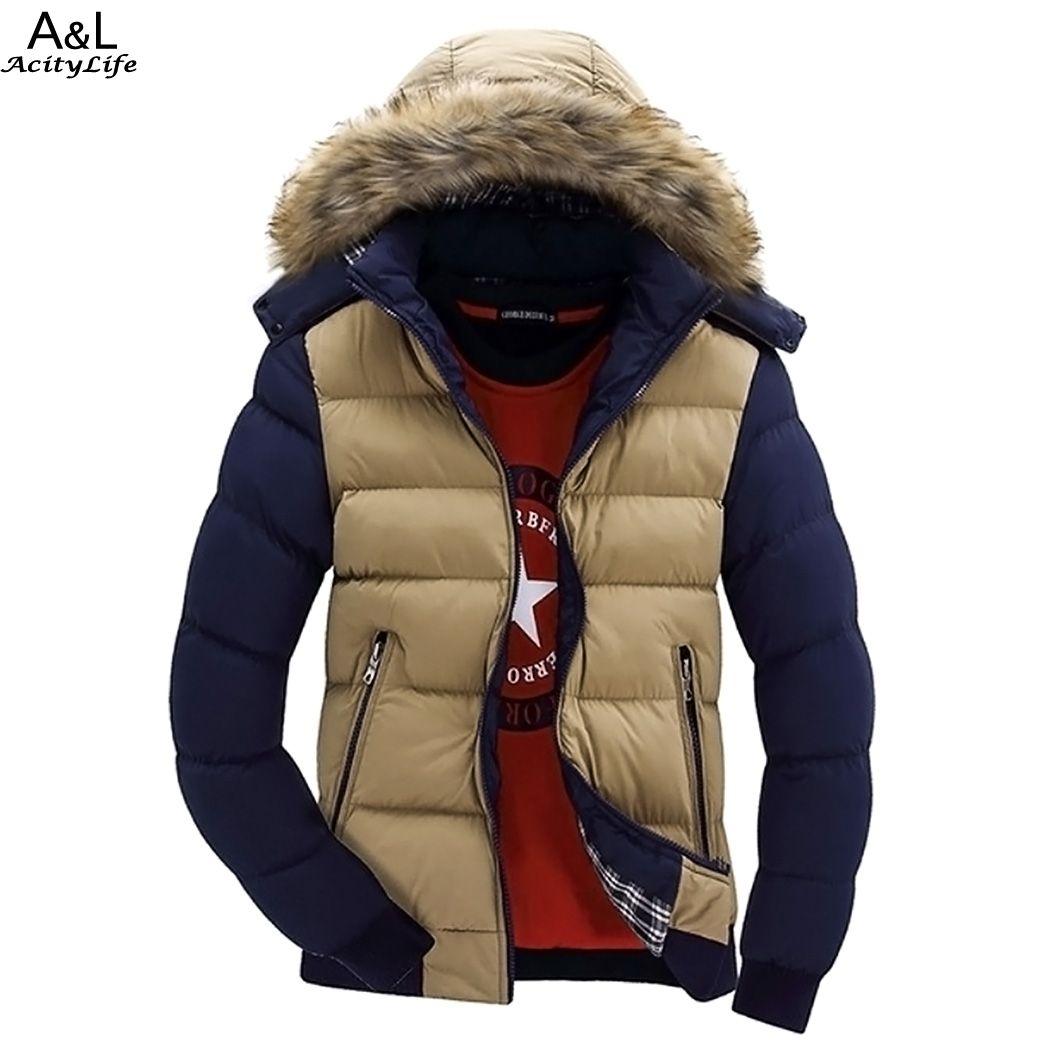 Casual Men Winter Warm Coat Jacket Hooded Man Down Jacket Parka Plus Size Contrast Color Men Parkas Drop Shipping 41(China (Mainland))