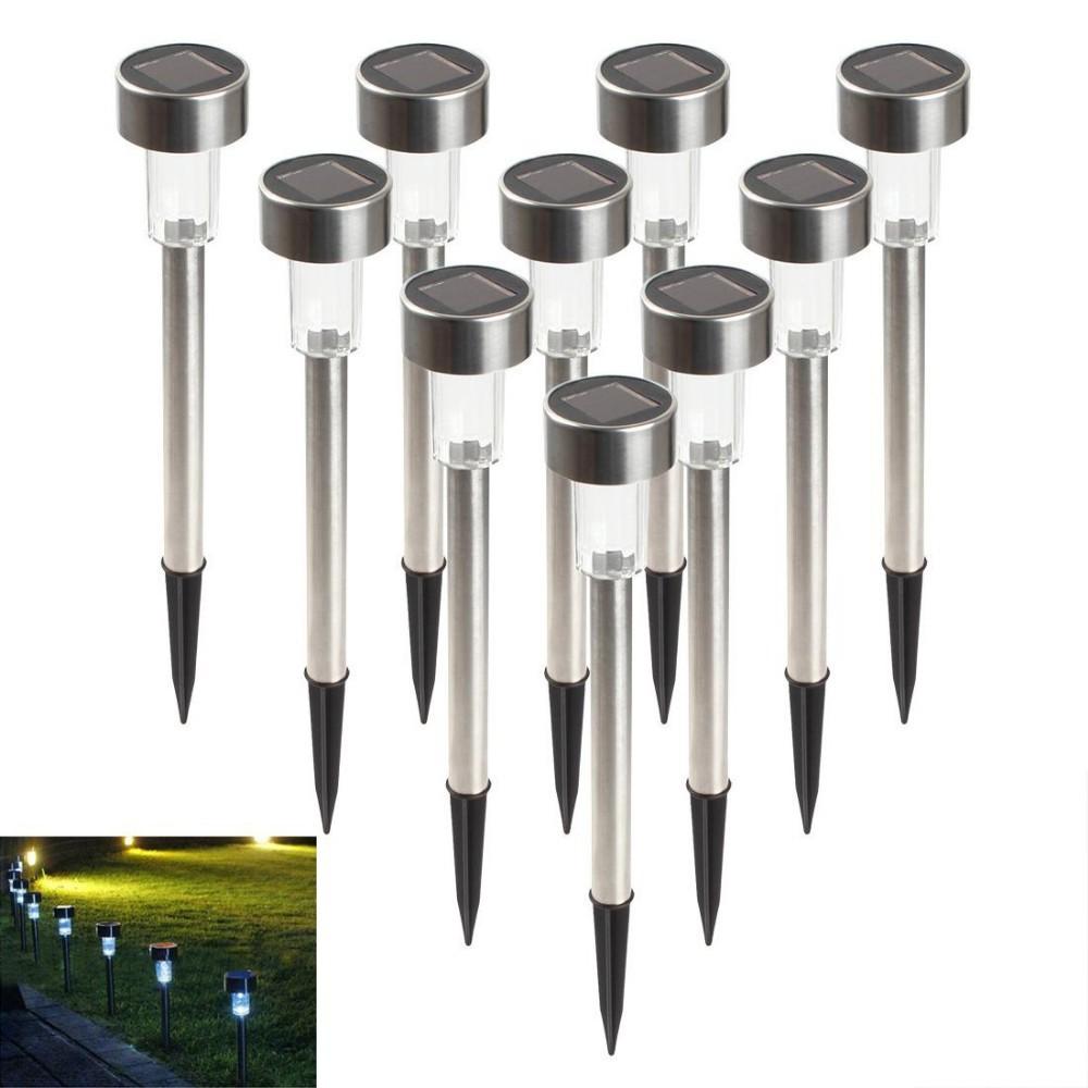 Здесь можно купить  100Pcs(10Pack) Outdoor Stainless Steel LED Solar Garden Light Landscape Path Lights Yard Lamp Solar Light  Свет и освещение