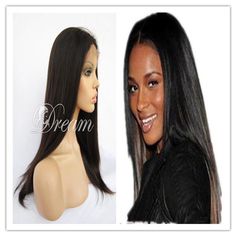 Top Front Lace Wigs with Weft Back Large Stock Virgin Brazilian Hair Yaki Straight Wigs with Baby Hair Around 8 inch to 24 inch(China (Mainland))