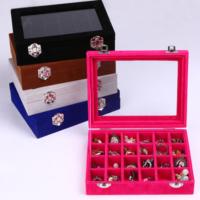 2016 Fashion Velvet Glass Jewelry Ring Earring Display Organizer Box 24 Slots Pendant Earrings Holder Storage Cases 5 Colors(China (Mainland))
