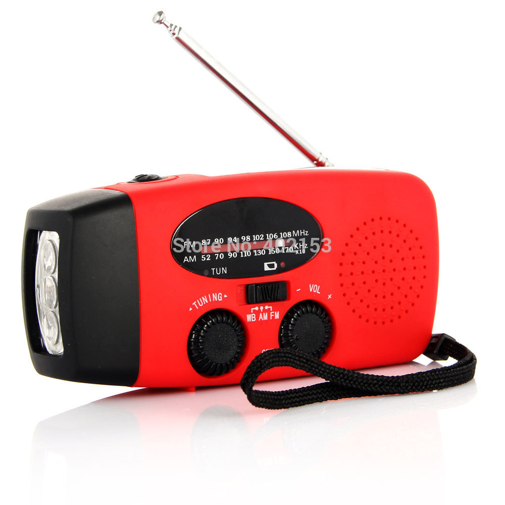 New Arrived AM/FM Solar Dynamo Powered Radio Hand Crank Radio With LED Torch Red Wholesale Free Shipping #16116602(China (Mainland))