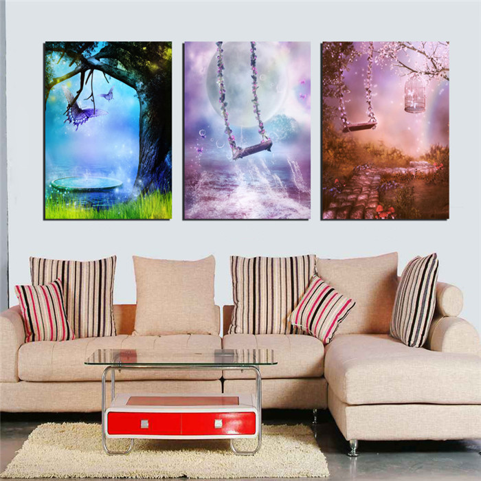 3 Panel Modern Painting Color Dream Swing Home Decorative Wall Art Printed Canvas For Living Room Kids Bedroom Decoration New(China (Mainland))