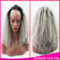 Ombre Afro Kinky Curly Grey Synthetic Lace Front Wig Glueless 150 High Density For Women Two
