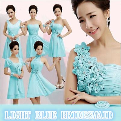 chiffon convertible sexy short bridesmaid dress off shoulder formal brides maids ladies size 12 dresses pics mix style W1841(China (Mainland))