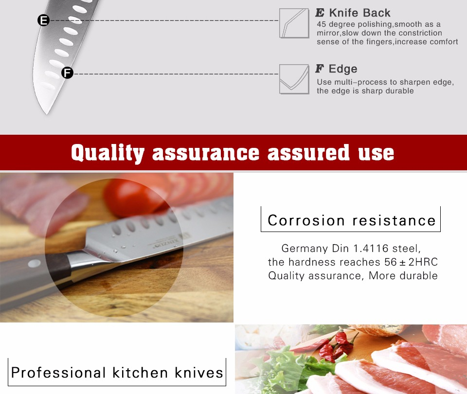 Buy XINZUO kitchen tools 3 PCs kitchen knife set utility Chef satoku knife german 1.4116 stainless steel super sharp free shipping cheap
