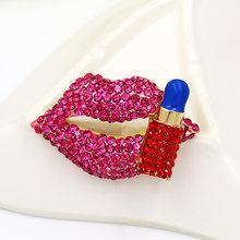 Baiduqiandu Merek Kualitas Tinggi Merah & Biru Kristal Berlian Imitasi Membuka Bibir Bros Pin untuk Wanita atau Anak Perempuan(China)