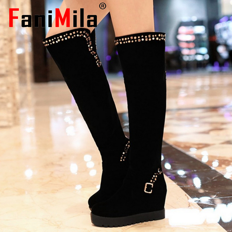 CooLcept Free shipping over knee wedge boots women snow fashion winter warm shoes boot P15322 EUR size 34-39<br><br>Aliexpress