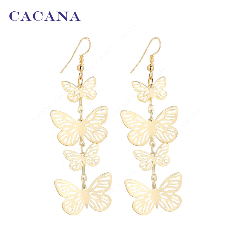 2016 new CACANA gold plated dangle long font b earrings b font for women flying butterfly