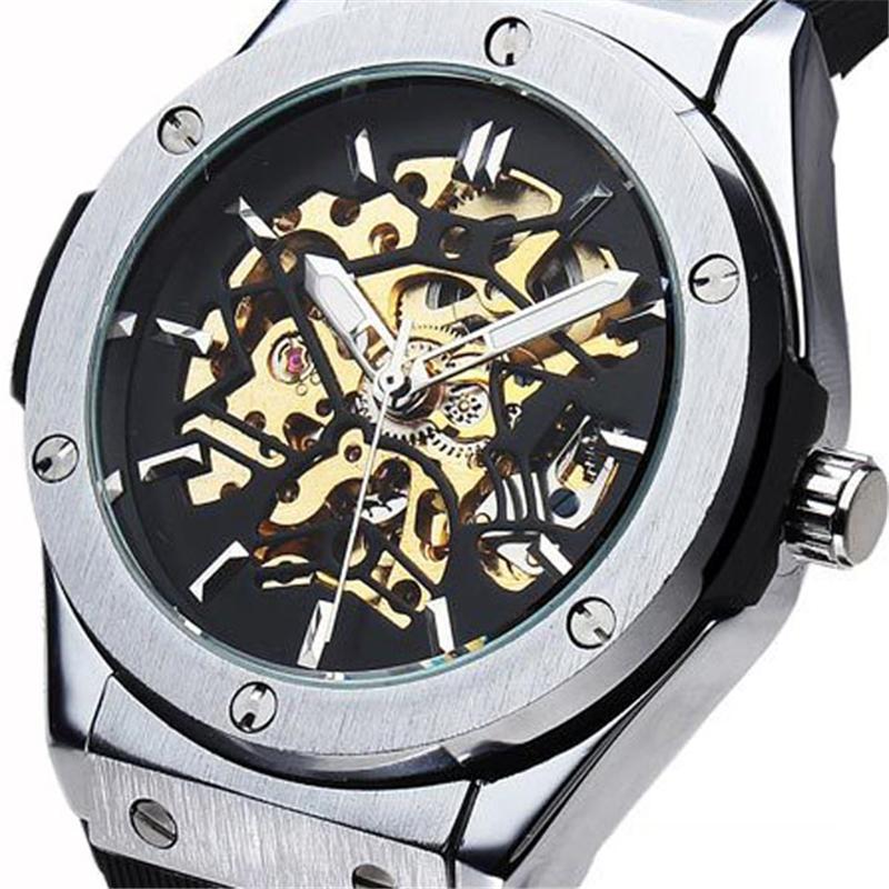 2016 new fashion men male clock sewor brand stylish rubber design classic mechanical self wind wrist dress skeleton watch gift(China (Mainland))