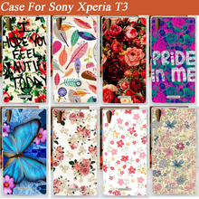 Hot Fashion diy painting beautiful flowers design Case Cover FOR Sony Xperia T3 / hard M50W - Factory store