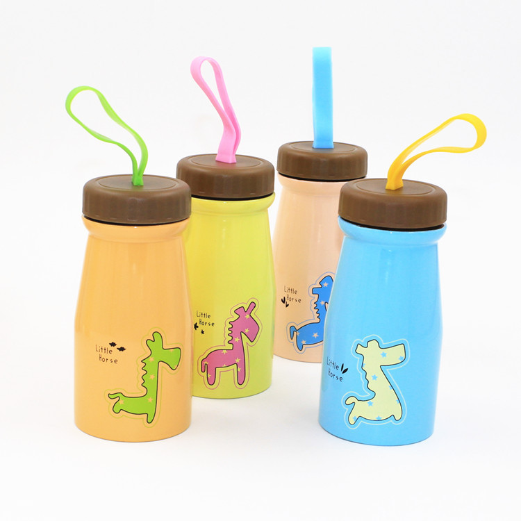 Mini Portable Water Bottle Children Kids Cartoon Milk Cup Cute Mugs Trojans Pattern Pink Yellow Blue On Sale Milk Tea Water Cup(China (Mainland))