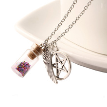 2016 Top Fashion Jewelry Silver Chain Lovely Girl Color Particles Wishing Bottle Statement Necklaces & Pendants For Women NZ2214