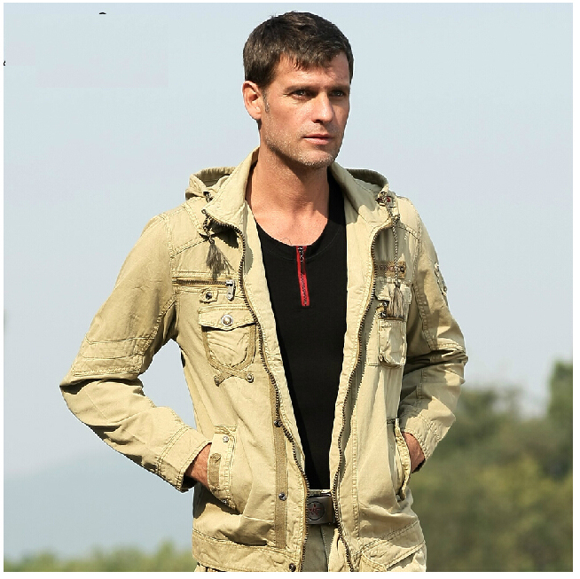 Men Fashion Military jacket male water wash clothes outerwear casual outdoor hooded jacket(China (Mainland))