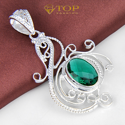 2Pcs/1Lot Hot Sell 925 Silver Pendant Green Topaz Crystal Necklace Pendant For Women Wedding Pendant Bijoux(China (Mainland))