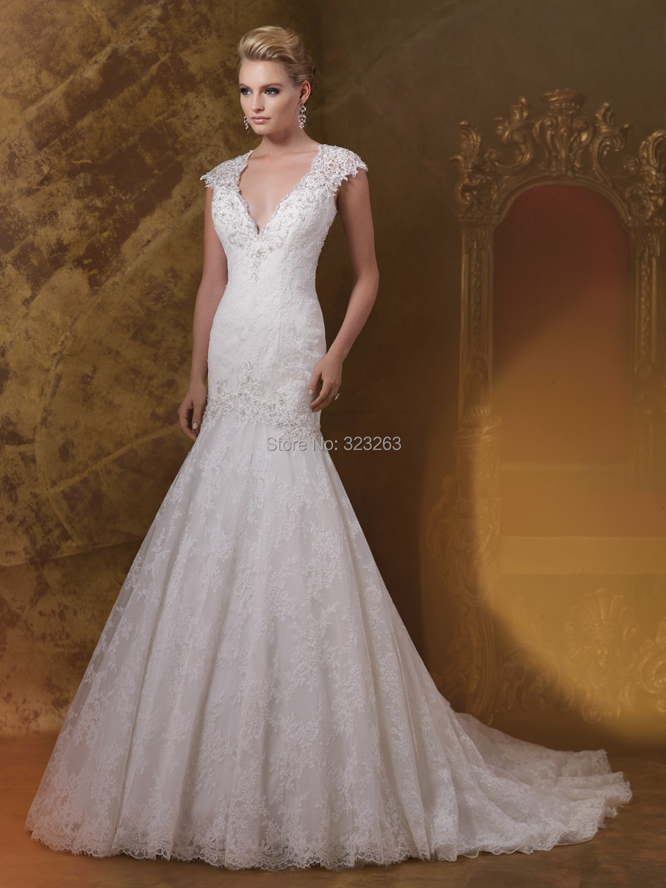 Greek Style Cap Sleeve Mermaid Wedding Dresses Lace 2015