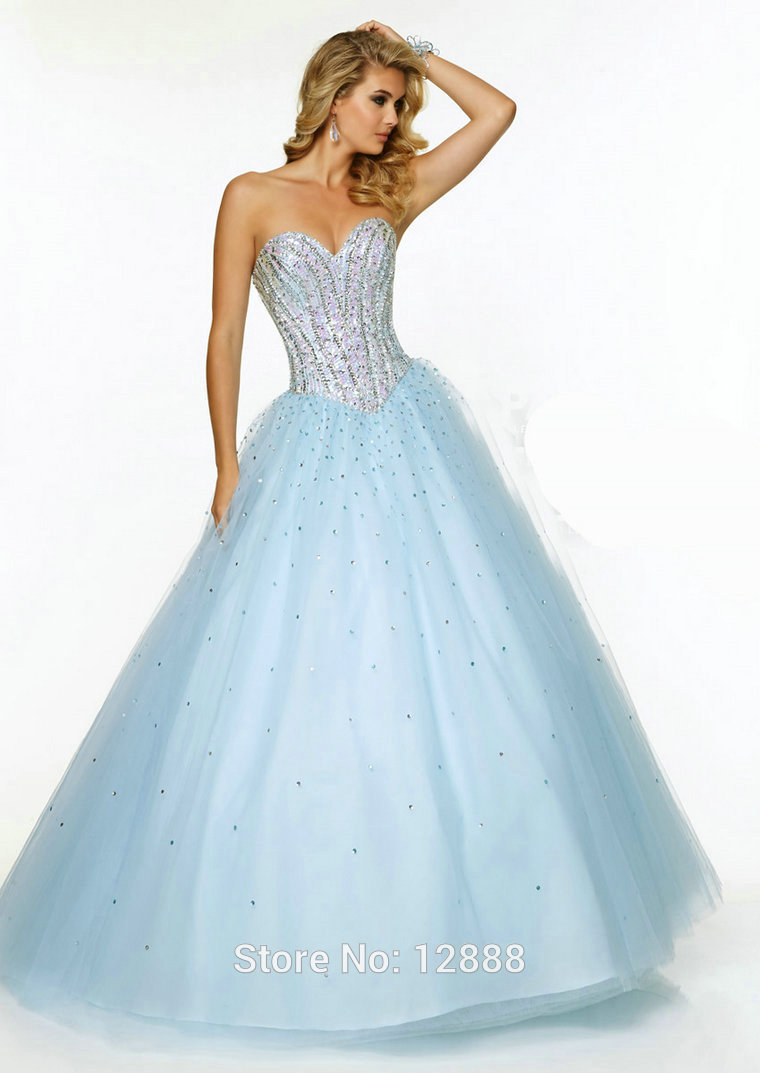 Blue And White Ball Gowns Style 97066 Lig...