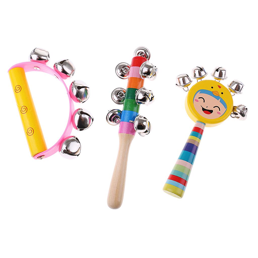 Wooden tambourine teach musical instrument children's toys for newborns babies developing develop your baby's sense of music