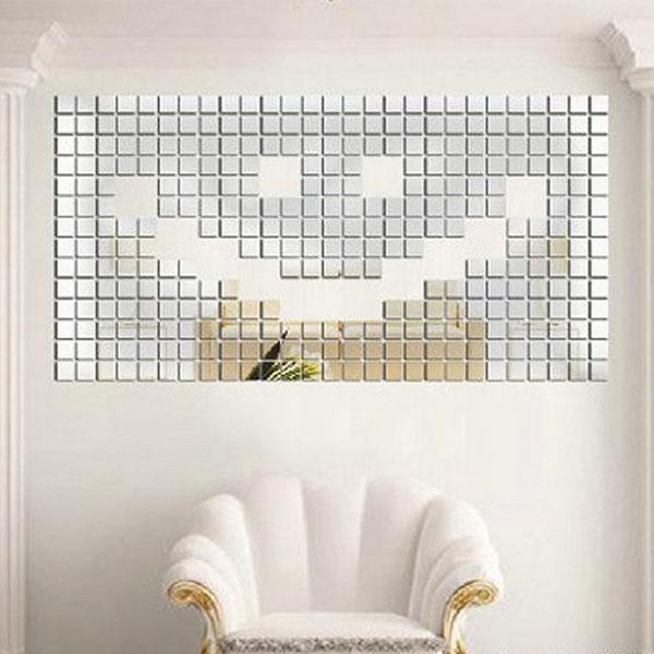 New Fashion 100pcs 2x2cm Bling Bling Acrylic 3D Wall Sticker Mosaic Mirror Effect Sofa Room Home Decor DIY(China (Mainland))