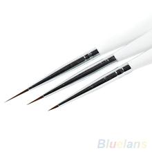 3Pcs Acrylic French Nail Art Liner Painting Drawing Pen Brush Tool Set Kit