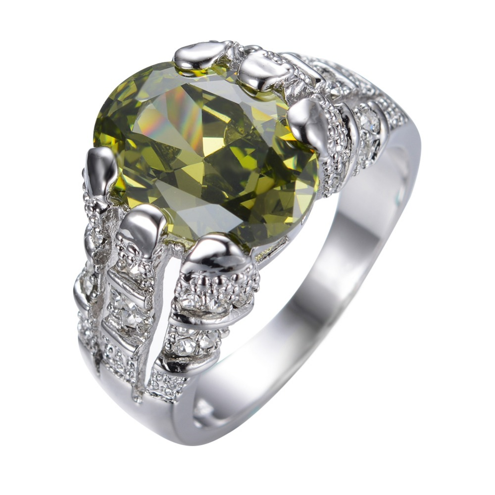 male peridot ring white gold filled jewelry vintage