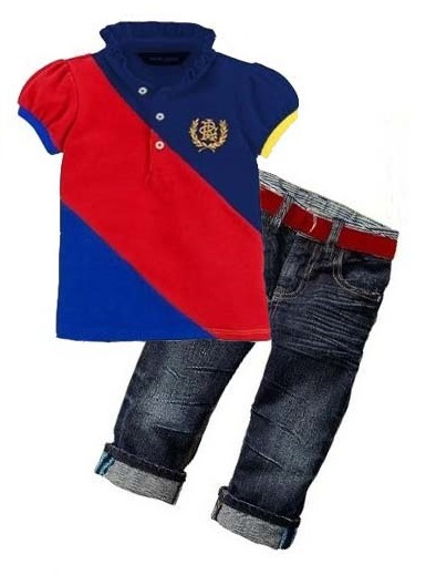 Children's red and blue Slash patchwork Sets New kids sets Summer baby boys brand POLO shirt + jeans set Children casual wear(China (Mainland))