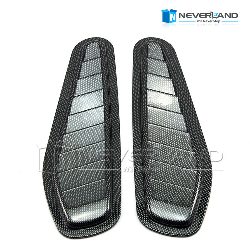 2 PCS Car Styling Stickers ABS Car Decorative Air Flow Intake Scoop Turbo Bonnet Vent Cover Hood Black Carbon Fiber Silver(China (Mainland))