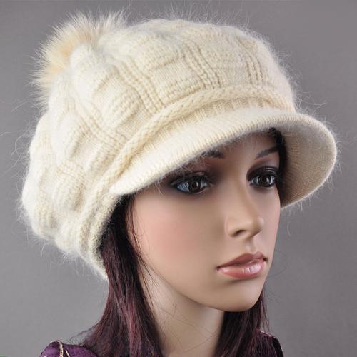 New Stylish Classic Brim Visor Cute Beanie Women's Winter Wool Cap Snow Knit Soft Warmer Fox Ball Hat Angora(China (Mainland))