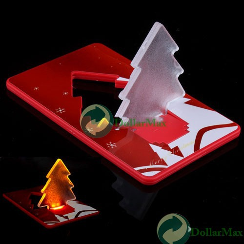 New arrive Folding Pocket LED Card Light Lamp Bulb Christmas Tree wholesale(China (Mainland))