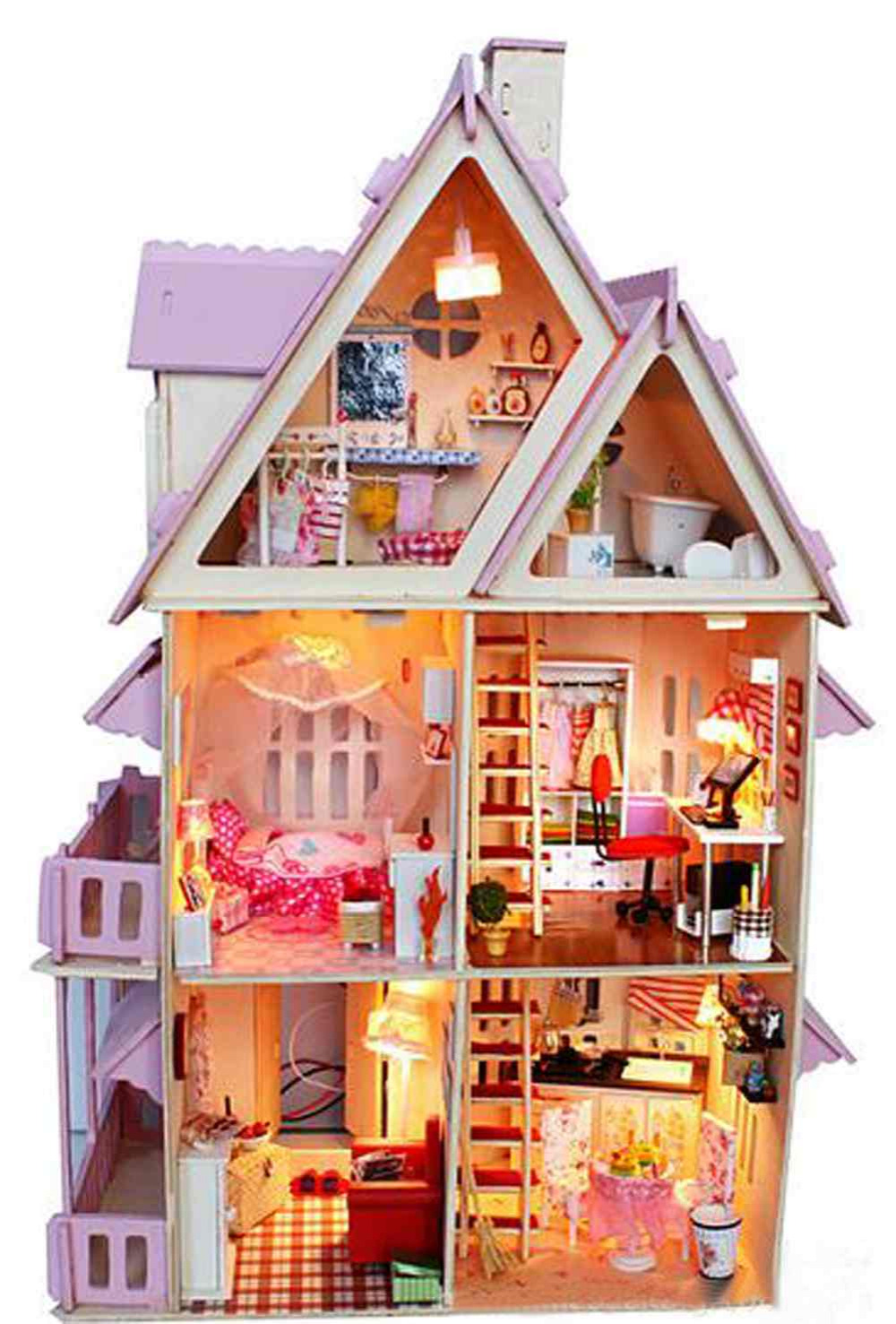 Miniature Wooden Dollhouse Furniture Model Toy Christmas Gift CASTLE ...