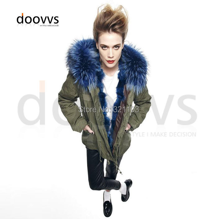 Mrs furs real fox fur big collar liner parka,fashion blue price winter coat parka - foxfurs store