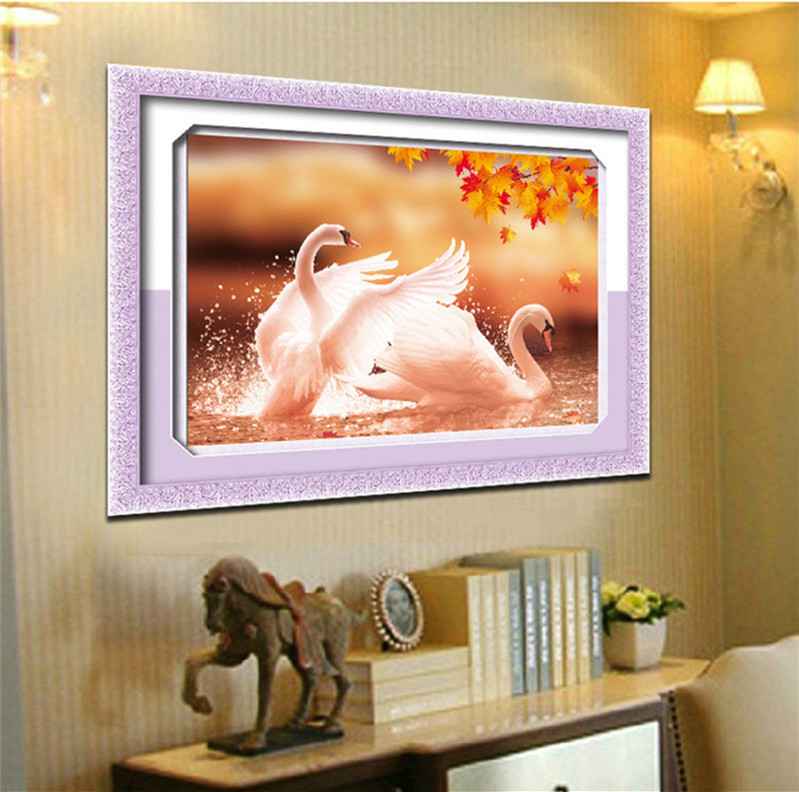 YGS-13 DIY 5D Round Diamond Painting Cross Stitch Kits Autumn Lover Swans Animals Diamonds Embroidery Home Decor Diamond Mosaic(China (Mainland))