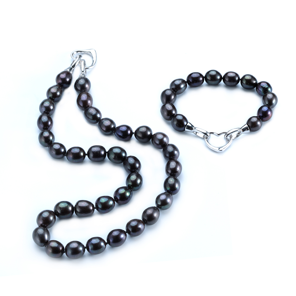 Hot Selling Black Pearl jewelry Sets For Women 10mm Big Pearl jewelry With Silk Bag 18cm Bracelet+45cm Necklace(China (Mainland))