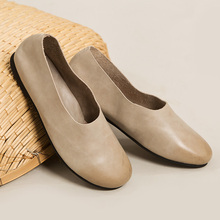 2016 spring and summer handmade 100% cowhide leather Women Shoes Flats genuine leather round toe flat Shoes Woman #D112
