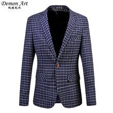 Men's Dress Blazer Fashion Business Suit Jacket Fine Grid Blazer Slim Veste Homme Mariage Free Shipping Plus Size:5XL 6XL 513(China (Mainland))