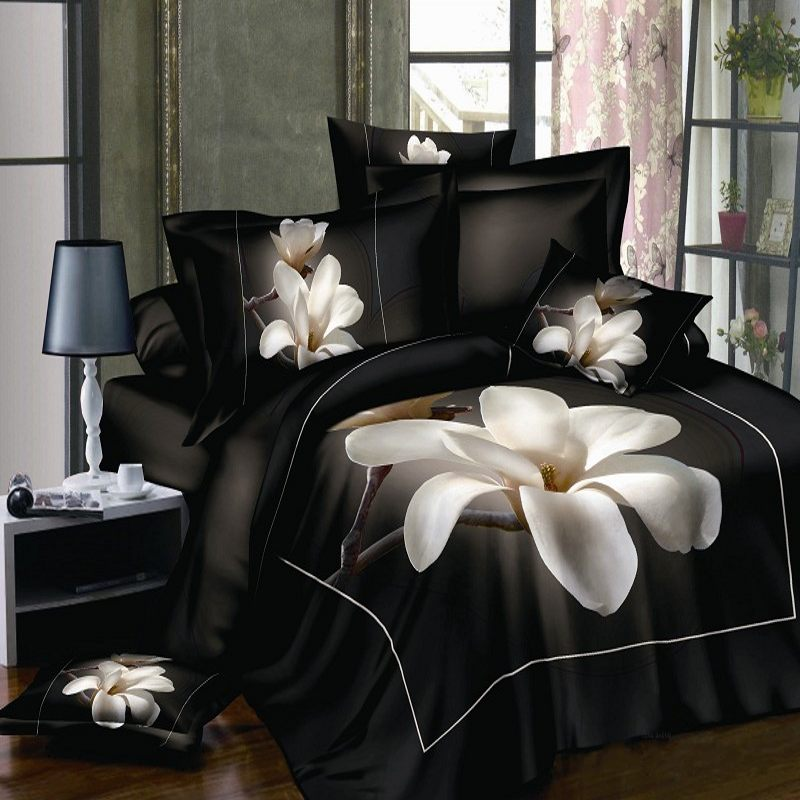 3d White Orchid Comforter Bedding Sets Queen King Size