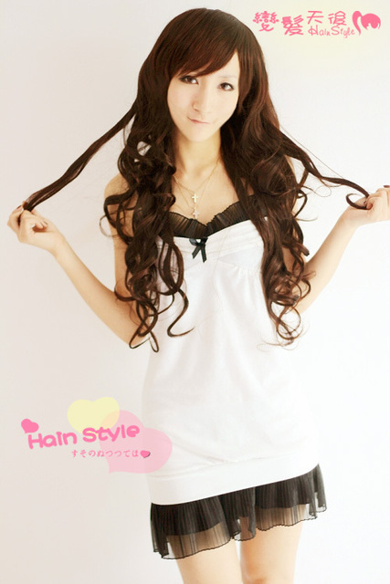 Elegant women's wig girls long curly hair fluffy bangs