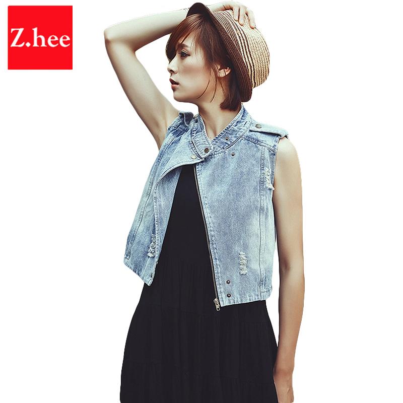 Retro Turtleneck Women Jeans Jacket Short High Waist Denim Vest Female Jeans Jacket Zipper Denim Fashio Sleeveless Jeans Jacket(China (Mainland))