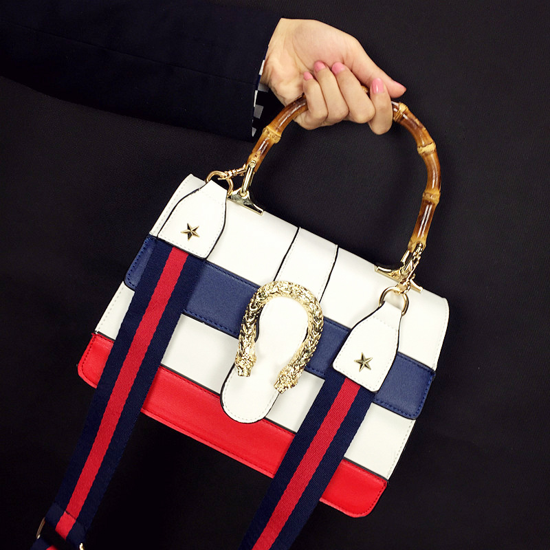 Brand 2016 White Women Messenger Bags Blue Red Navy Stripes PU Leather Flap Handbag(China (Mainland))