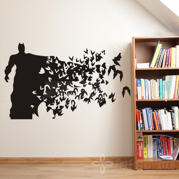 Free Shipping Removable Art Vinyl BATMAN - WALL ART DECAL STICKER Car Living Room Decoration(China (Mainland))