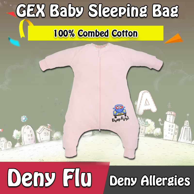 GEX(USA) For Spring100% Combed Cotton Infant Baby Sleeping Bag Sleep Sack Sleeper Swaddle Sleepwear Gown Quilt Laytte PinkNO.1(China (Mainland))