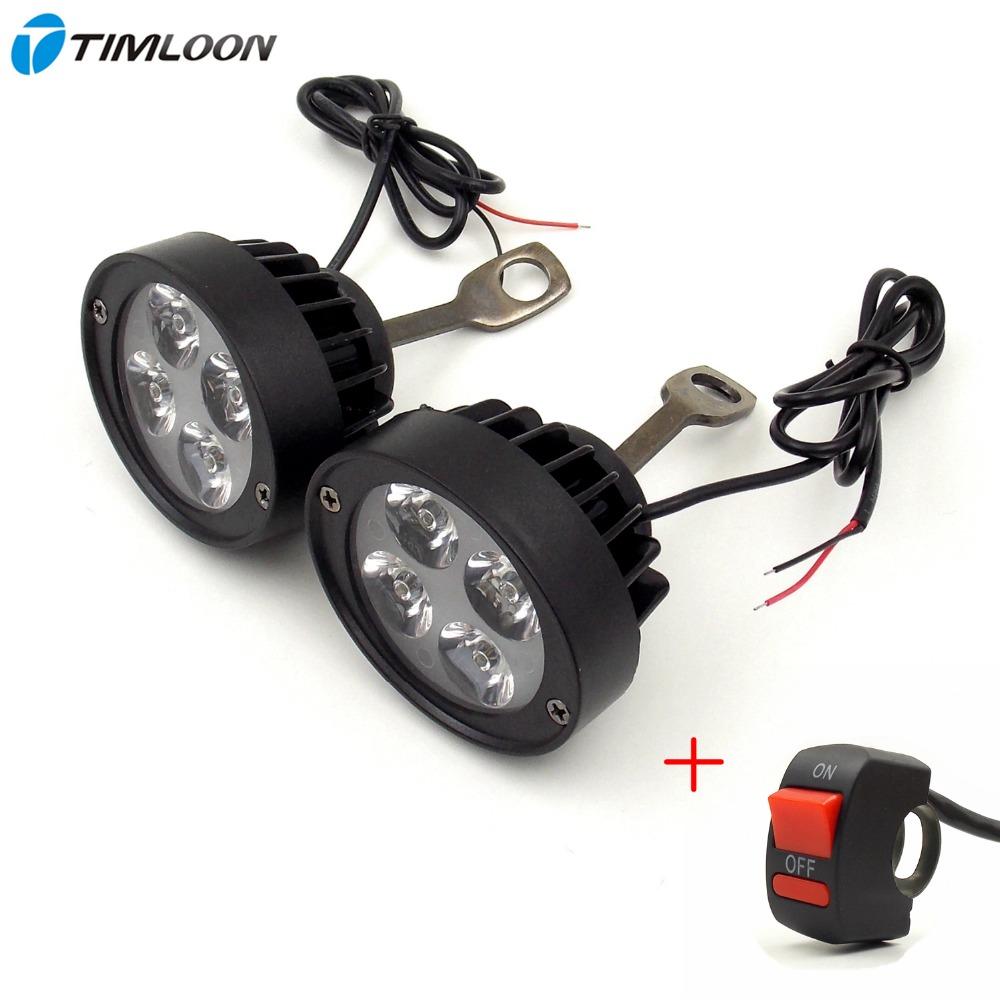 Newest 2pcs 12V-85V Super Light Waterproof Motorcycle LED Headlight Locomotive Spotlight Assist Lamp Rearview Mirror Light