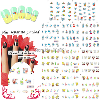HOTSALE 90Sheet/lot SpongeBob Cartoon Nail Art Water Decals Transfer Sticker water stickers for nail art+individually packaging