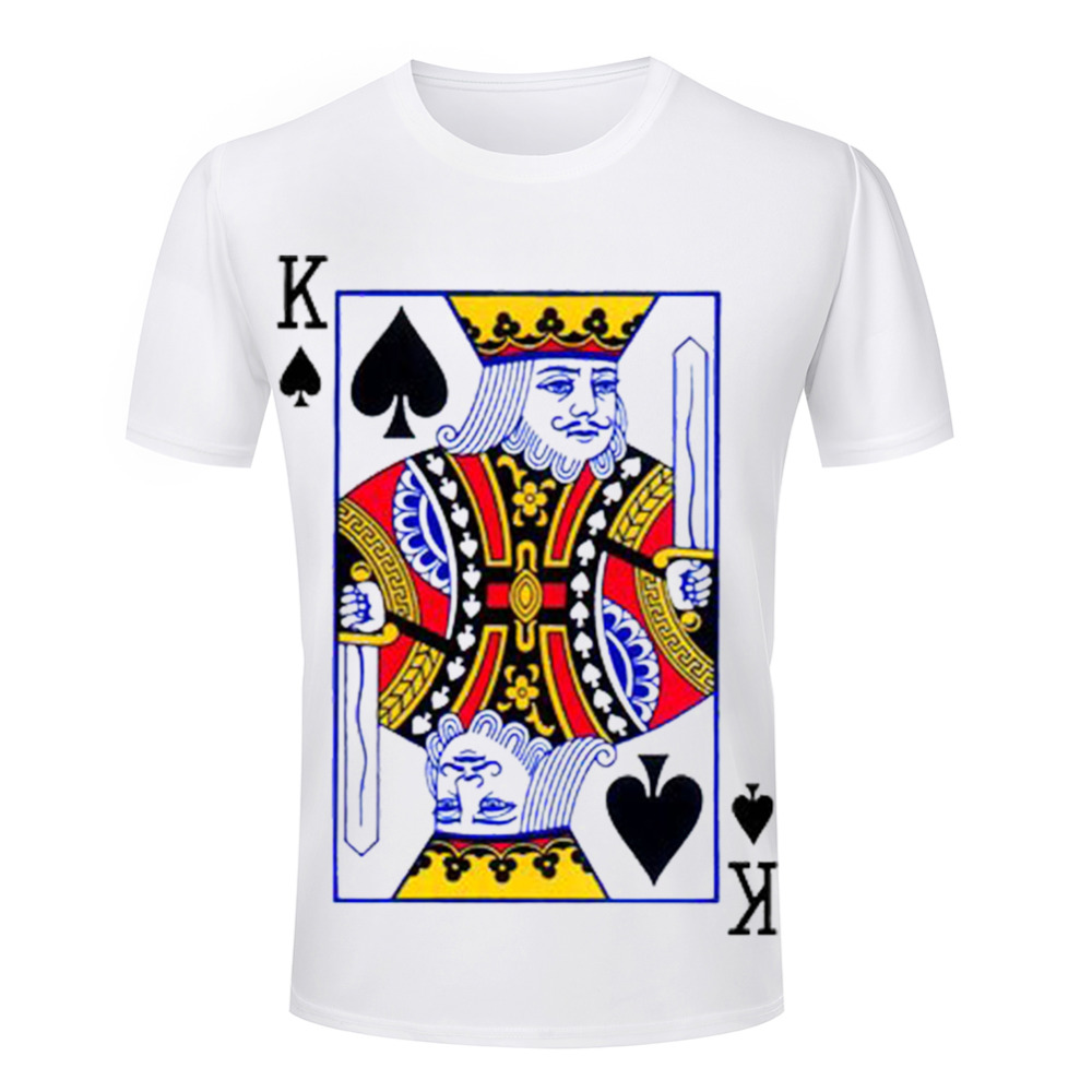 Funny king ace queen jack playing cards poker tshirt for Printable t shirts wholesale