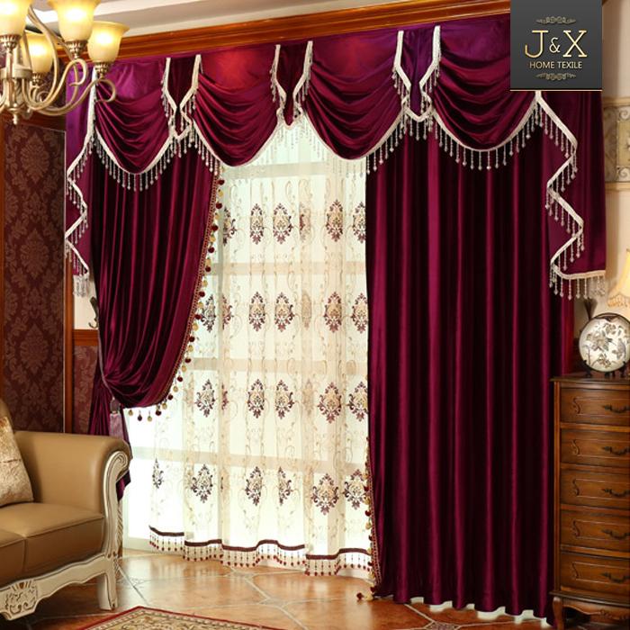 European Luxury Italian Velvet Embroidered Valance Red Drapes Curtain ...