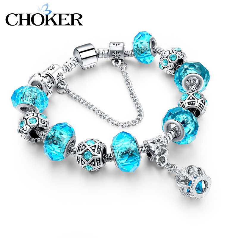 Blue Crystal Charm Bracelets & Bangles for Women With Aliexpress Murano Beads Bracelet Femme Love 925 Silver Sapphire Jewelry(China (Mainland))