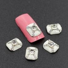 10pcs Elegant Materials For Nail 3D Alloy Metal Nail Art White Enamel Charm Rhinestone For Nails Accessories