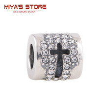 2Pcs Lot 925 Sterling Silver Tibetan Silver Cross Charm Pendant With Rhinestones Religious Bracelets For Women