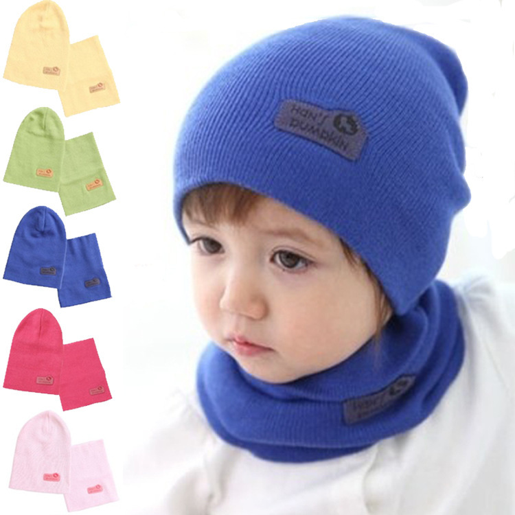 HOT fashion cotton Winter warm Knitted Baby Hats and Scarfs set girls and boys Candy kids hats and bib Christmas gifts(China (Mainland))