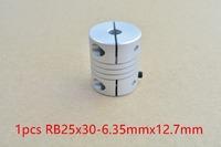 1pcs 6.35mm x 12.7mm D25 L30 shaft coupler flexible coupling stepper motor for 6.35mm shaft 12.7mm shaft #RB25x30-6.35x12.7-1